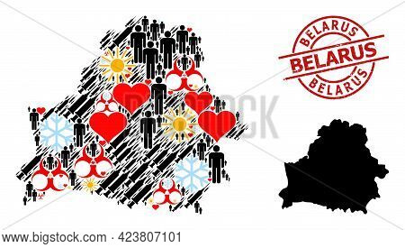 Distress Belarus Seal, And Lovely Humans Inoculation Collage Map Of Belarus. Red Round Badge Include