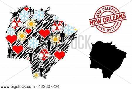 Distress New Orleans Seal, And Lovely Demographics Inoculation Collage Map Of Mato Grosso Do Sul Sta