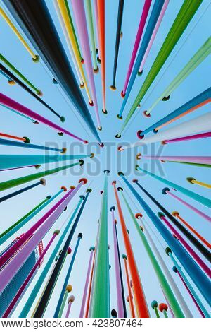 Bottom View Of Artistic Construction Made From Colored Poles In Citylife Park In Milan