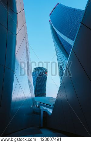 Milan, Italy - May 2021: Bottom View Of The Skyscrapers (three Towers) In The Citylife District Of M