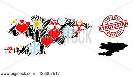 Rubber Kyrgyzstan Stamp Seal, And Heart Patients Inoculation Mosaic Map Of Kyrgyzstan. Red Round Sta