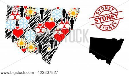 Distress Sydney Badge, And Heart Men Infection Treatment Collage Map Of New South Wales. Red Round S