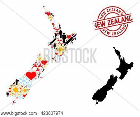 Rubber New Zealand Seal, And Frost People Virus Therapy Collage Map Of New Zealand. Red Round Stamp