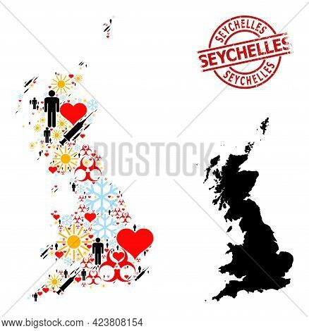 Grunge Seychelles Seal, And Frost People Inoculation Mosaic Map Of Great Britain. Red Round Seal Has