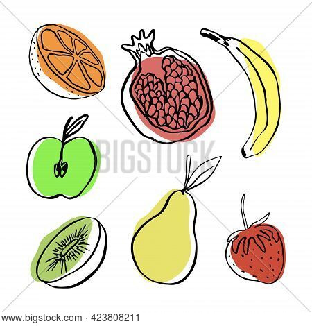 Collection Of Vector Doodle Fruits : Apple, Pear, Banana, Orange, Pomegranate, Kiwi And Strawberry.