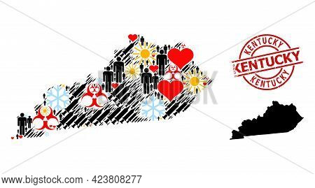 Rubber Kentucky Badge, And Heart Man Virus Therapy Mosaic Map Of Kentucky State. Red Round Badge Has