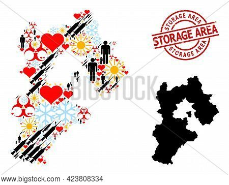 Grunge Storage Area Stamp Seal, And Spring Men Inoculation Mosaic Map Of Hebei Province. Red Round S
