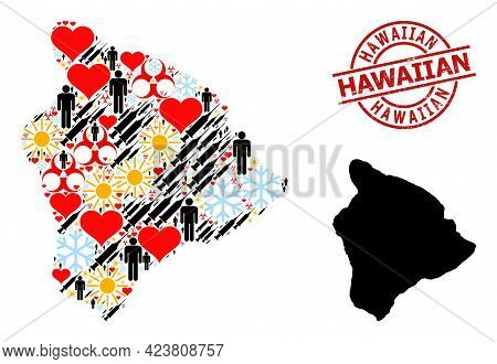Grunge Hawaiian Stamp, And Frost Demographics Inoculation Collage Map Of Hawaii Big Island. Red Roun
