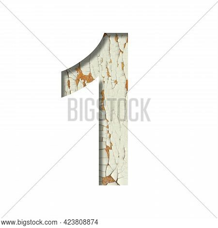 Rustic Font. Digit One, 1 Cut Out Of Paper On The Background Of Old Rustic Wall With Peeling Paint A