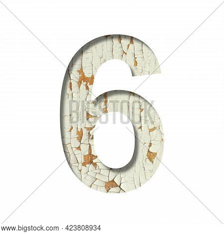 Rustic Font. Digit Six, 6 Cut Out Of Paper On The Background Of Old Rustic Wall With Peeling Paint A