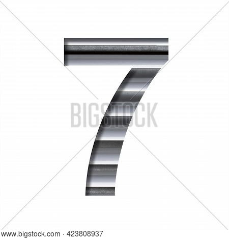 Modern Industrial Font. The Digit Seven, 7 Cut Out Of Paper On The Background Of Industrial Ventilat
