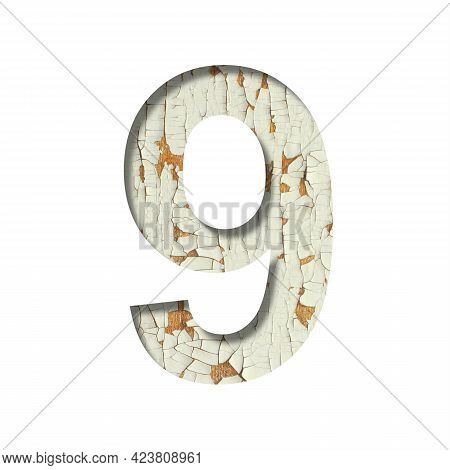 Rustic Font. Digit Nine, 9 Cut Out Of Paper On The Background Of Old Rustic Wall With Peeling Paint