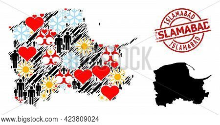Grunge Islamabad Seal, And Winter Humans Inoculation Collage Map Of Pomerania Province. Red Round Se