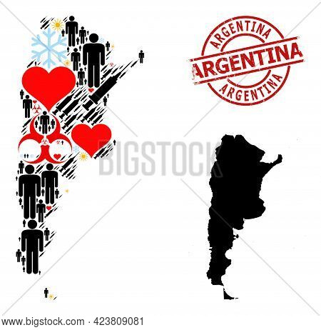 Rubber Argentina Stamp, And Sunny People Vaccine Mosaic Map Of Argentina. Red Round Stamp Seal Conta