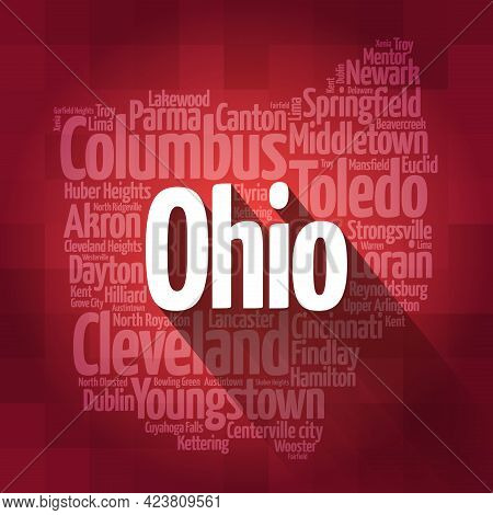 List Of Cities In Ohio Usa State, Map Silhouette Word Cloud, Map Concept Background