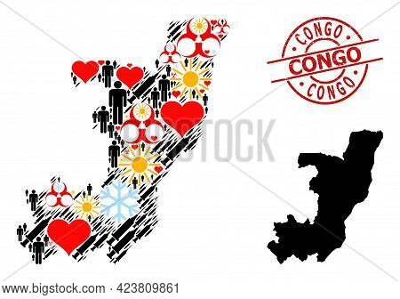 Distress Congo Seal, And Sunny Men Vaccine Mosaic Map Of Republic Of The Congo. Red Round Seal Conta
