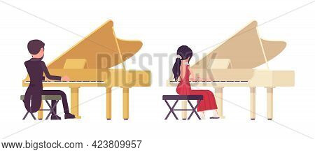 Musician, Elegant Man, Woman Playing Professional Grand Piano Instrument. Classical Music Event, Con