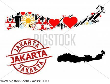 Textured Jakarta Seal, And Sunny Humans Syringe Collage Map Of Indonesia - Flores Island. Red Round