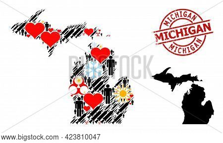 Scratched Michigan Seal, And Lovely Men Syringe Collage Map Of Michigan State. Red Round Seal Contai