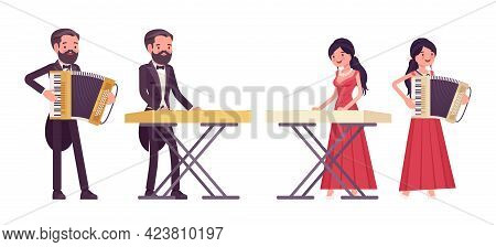 Musician, Man, Woman Playing Accordion, Synthesizer Keyboard Instruments. Classical Music Event, Con