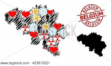 Rubber Belgium Seal, And Heart People Inoculation Mosaic Map Of Belgium. Red Round Stamp Seal Contai