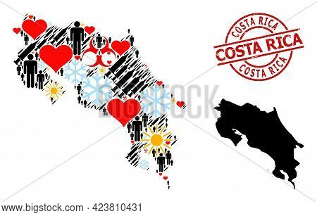 Textured Costa Rica Badge, And Lovely Man Syringe Collage Map Of Costa Rica. Red Round Badge Has Cos