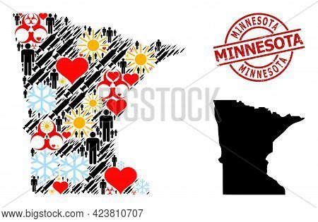 Rubber Minnesota Stamp, And Lovely Man Virus Therapy Collage Map Of Minnesota State. Red Round Stamp