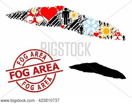 Distress Fog Area Badge, And Winter Patients Vaccine Collage Map Of Haiti Tortuga Island. Red Round