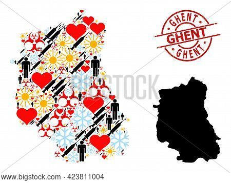 Distress Ghent Stamp Seal, And Winter Man Covid-2019 Treatment Collage Map Of Lublin Province. Red R