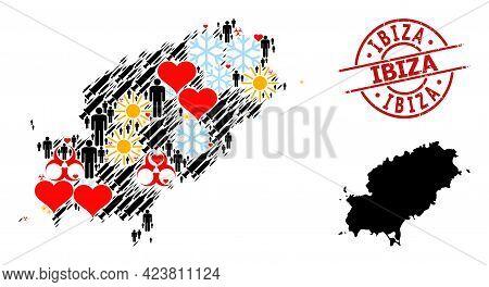Distress Ibiza Badge, And Heart Men Syringe Mosaic Map Of Ibiza Island. Red Round Stamp Contains Ibi
