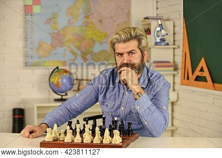 Strategy Concept. School Teacher. Do Your Own Thinking Independently. Chess Lesson. Board Game. Smar