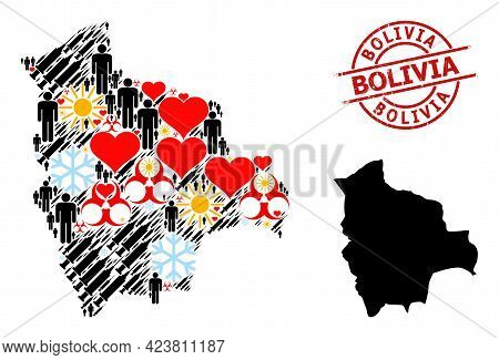 Rubber Bolivia Badge, And Spring Patients Vaccine Mosaic Map Of Bolivia. Red Round Badge Contains Bo