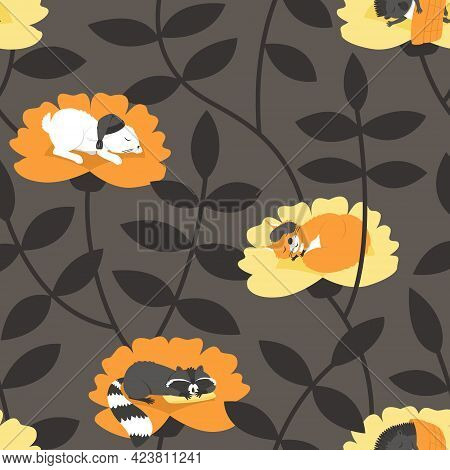 Seamless Pattern With Sleeping Animals On A Dark Background. Raccoon On The Pillow. Squirrel In A Sl