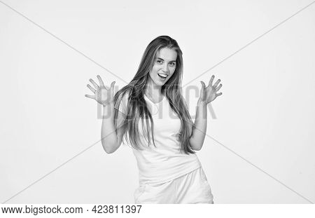Funky Style Beauty. Concept Of Purity And Hygiene. So Clear. Beautiful Woman Has Stylish Hair. Girl