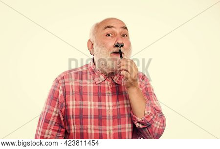 Cut And Brush Hair. Unshaven Old Man Has Moustache And Beard. Barbershop Concept. Shaving Accessorie