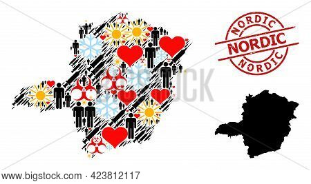 Textured Nordic Stamp, And Spring Demographics Infection Treatment Collage Map Of Minas Gerais State