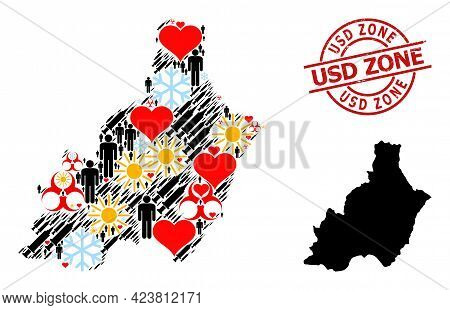 Textured Usd Zone Stamp Seal, And Frost Customers Inoculation Mosaic Map Of Almeria Province. Red Ro