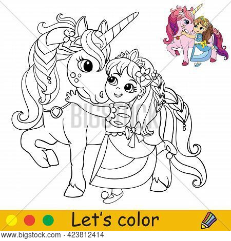 Cute Little Princess Cuddles With A Unicorn. Coloring Book Page With Colorful Template For Kids. Vec