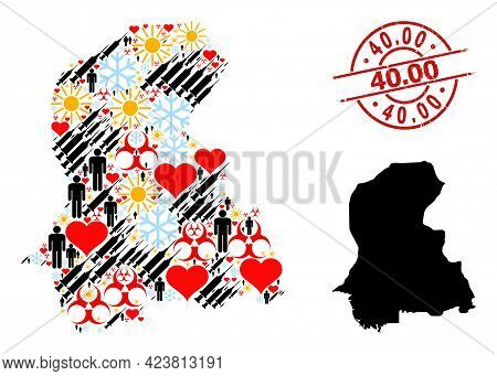 Textured 40.00 Stamp Seal, And Heart Humans Inoculation Mosaic Map Of Sindh Province. Red Round Stam