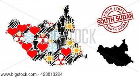 Rubber South Sudan Badge, And Frost People Covid-2019 Treatment Mosaic Map Of South Sudan. Red Round