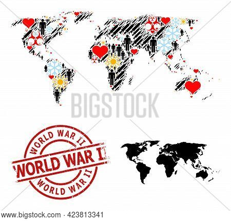 Scratched World War Ii Stamp, And Heart Men Syringe Collage Map Of World. Red Round Stamp Seal Inclu