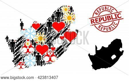 Scratched Republic Stamp Seal, And Sunny Demographics Virus Therapy Collage Map Of South African Rep