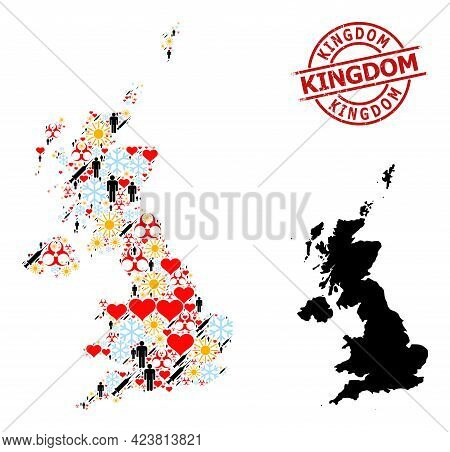 Distress Kingdom Stamp Seal, And Lovely Humans Covid-2019 Treatment Mosaic Map Of United Kingdom. Re
