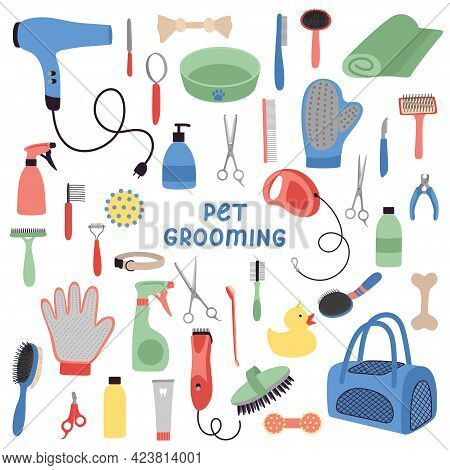 Pet Grooming Tools Set. Dog And Cat Care, Grooming, Hygiene, Health, Accessories, Vets. Beauty Salon