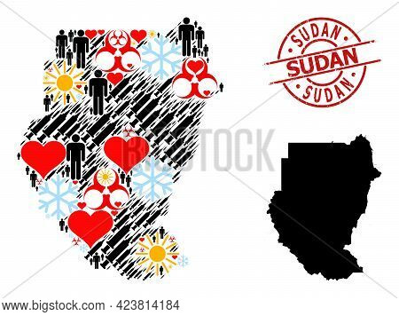 Rubber Sudan Stamp Seal, And Sunny Men Inoculation Mosaic Map Of Sudan. Red Round Stamp Seal Has Sud