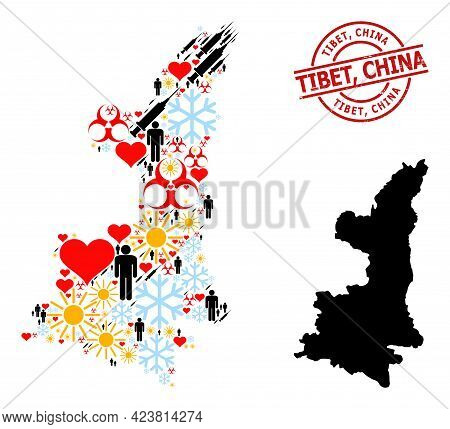 Distress Tibet, China Badge, And Heart Demographics Inoculation Mosaic Map Of Shaanxi Province. Red