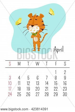Vertical Wall Calendar Page Template For April 2022 With A Cartoon Tiger Symbol Of The Chinese Year.