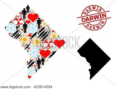 Rubber Darwin Seal, And Heart Humans Vaccine Mosaic Map Of Washington Dc. Red Round Seal Includes Da