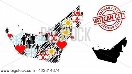 Rubber Vatican City Stamp, And Spring Men Virus Therapy Collage Map Of United Arab Emirates. Red Rou