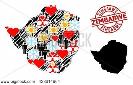 Textured Zimbabwe Stamp Seal, And Sunny People Vaccine Mosaic Map Of Zimbabwe. Red Round Seal Has Zi